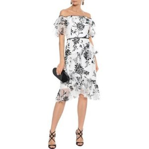 73c8f2e5f6 THE OUTNET offers Marchesa Notte Dress, up to 60% off. Free shipping.  MARCHESA NOTTEOff-the-shoulder flocked tulle dress