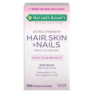$9.22(原价$18.19) 包邮Nature's Bounty 头发,皮肤,指甲美容复合营养胶囊 150粒