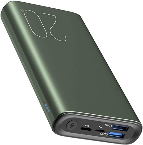 TOZO PB1 PD + QC 3.0 Portable Charger 20000mAh Ultra-High Capacity Fast Power Bank 22.5W High-Speed Charging External Battery Pack with USB-C Input/Output for iPhone,Samsung, Green