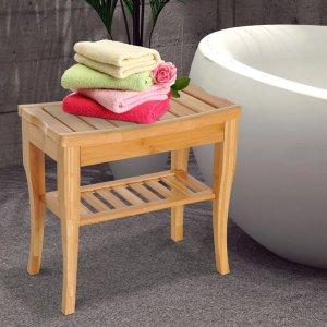 可当收纳架 需使用折扣码102063竹制浴室置物架
