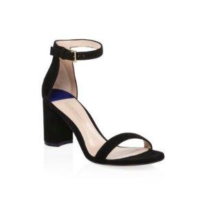 Stuart Weitzman75LessNudist Suede Ankle-Strap Sandals