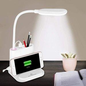 7.8折+9.4折,多功能4合1LED台灯 带USB充电端口和笔架