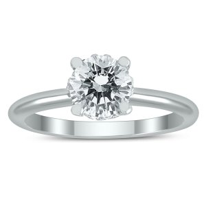 SzulAGS Certified Diamond Solitaire Crown Ring in 14K White Gold with Side Profile Diamonds