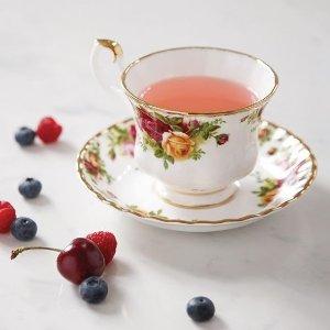 $71.99(原价$222)Royal Albert 复古玫瑰骨瓷茶杯9件套 4套茶碟+1个托盘