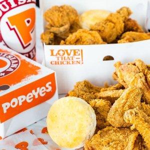 买家庭套餐送小食、买鸡块送饮料Popeyes 限时6个促销活动 酥脆炸鸡、经典 biscuit 一饱口福