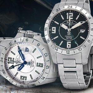 额外减$700 $1099+免税BALL GMT 机械奢华男表,黑银两色款