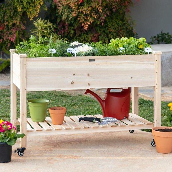 木质可移动花床,带收纳架