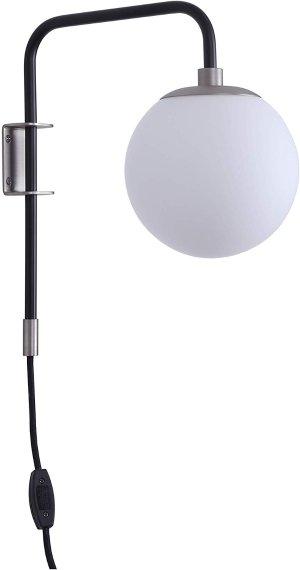 Caserti Globe Wall Lamp - Black w/Brushed Nickel - Linea di Liara LL-WL54-8SN/BLK