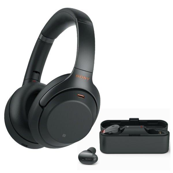 WH-1000XM3 无线降噪耳机 黑色+WF-1000X 降噪耳塞 套装