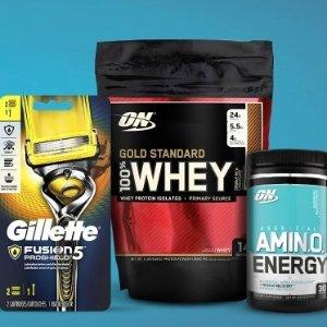 同时购买享ON蛋白粉半价Gillette 剃须刀 + Optimum Nutrition 蛋白粉同绑优惠