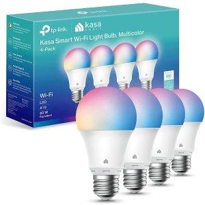 $41.99 (原价$59.99)限今天:Kasa A19 RGB智能灯泡 4个 等效60W 无需Hub