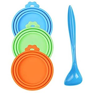 Amazon.com : PetBonus 3-Pack Silicone Pet Can Covers, Dog Cat Food Can lids, Fit Multiple Sizes - BPA Free Dishwasher Safe - a Long Handle Special Curved Design Can Food Spoon : Pet Supplies