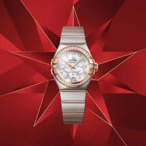 $4845+免税 官网$7500独家:Omega 星座18K金镶钻珍珠母贝奢华女表