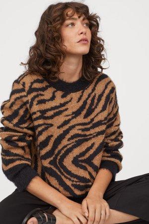 Jacquard-knit Sweater - Light brown/zebra print - Ladies   H&M US