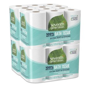 Seventh Generation Toilet Paper, Bath Tissue, 100% Recycled Paper, 12 rolls, Pack of 4