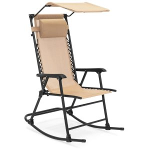 Folding Zero Gravity Mesh Rocking Chair w/ Sunshade Canopy