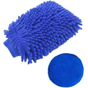 $3HelloAuto 2pack Scratch-Free Car Wash Mitt waterproof and Wax Applicator Kit
