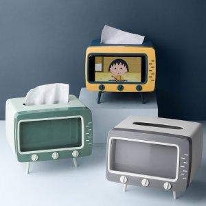 折后€7.54 书桌上的小趣味电视机创意纸巾盒 纸巾不落灰 还能当手机架 4色可选