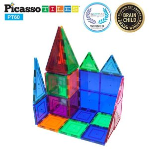 Picasso Tiles需点击9折优惠券儿童磁力片拼搭玩具,60片