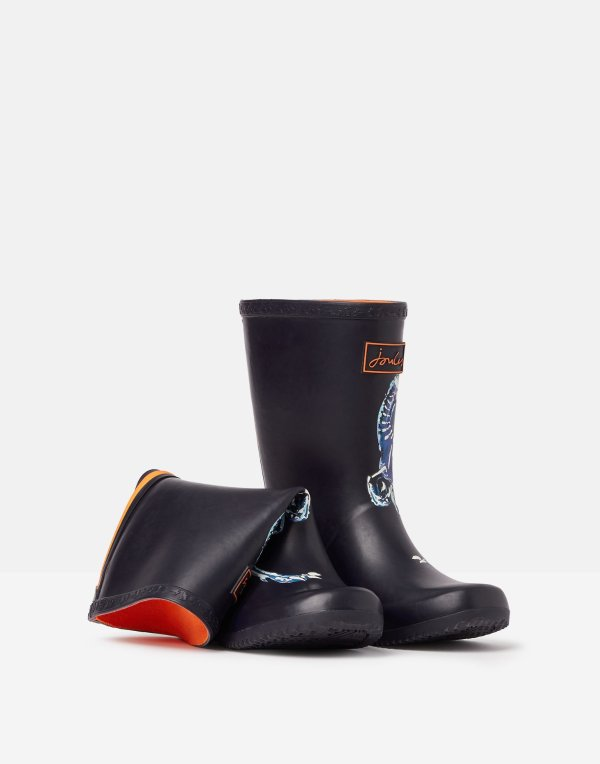 儿童可卷边夜光恐龙雨靴