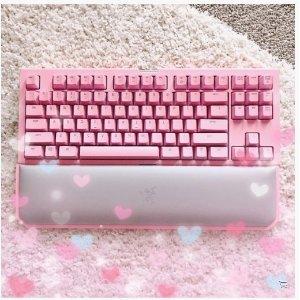 新低价£133入键盘Razer黑寡妇 Chroma V2 Quartz粉嫩版 粉丝晒货已融化