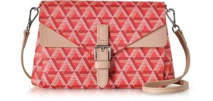 Lancaster Paris Ikon Red & Nude Coated Canvas and Leather Mini Clutch