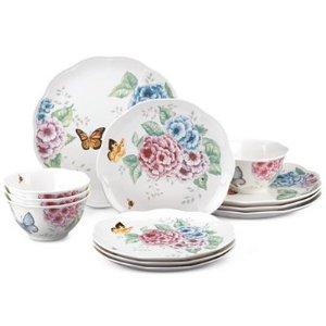 Lenox蝶舞花香 4人份瓷餐具12件套