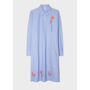 Paul SmithWomen's Blue Polka Dot Shirt Dress With Embroidered Flower