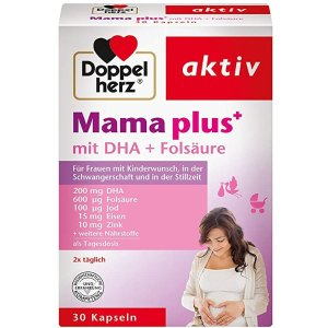 妈妈Plus备孕片 混合DHA+叶酸Doppelherz Mama plus Capsules, Folic Acid Supplement to Support Cell Division During Pregnancy, 30 Capsules