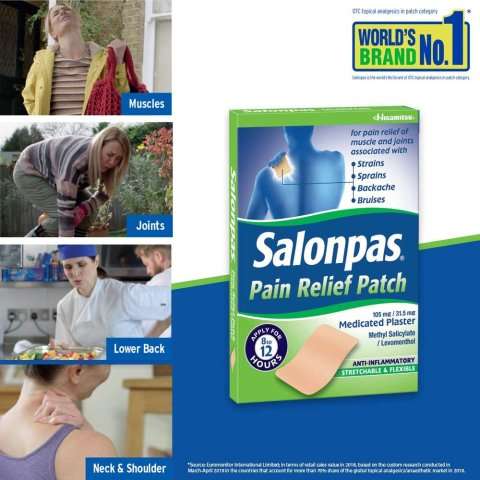 £1.23/片 比看GP好的更快Salonpas 撒隆巴斯镇痛贴 肩颈痛、腱鞘炎 神器止痛贴