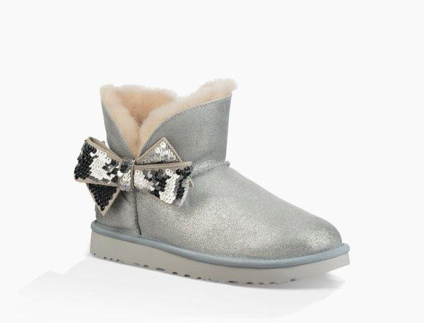 亮片蝴蝶结雪地靴