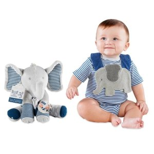 Baby AspenLittle Peanut Gift Set with Elephant Layette, Bib, Socks & Plush
