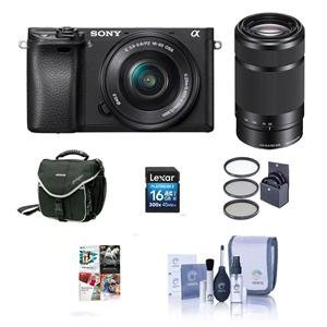 Sony Alpha a6000 Mirrorless w/16-50mm & 55-210mm OSS Lenses Black W/Free Acc Kit