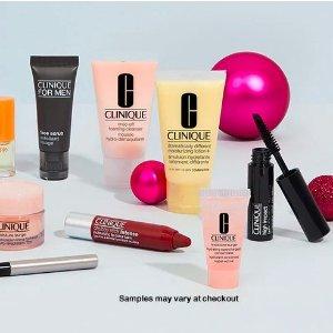 任意订单任选5件豪华赠品+免运费限今天:Clinique官网 美妆护肤品热卖 划算入套装