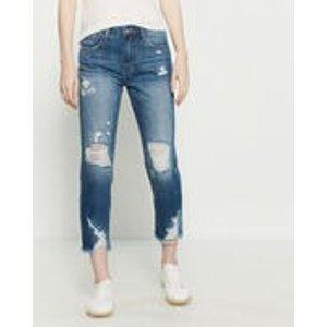 High-Rise Distressed 牛仔裤