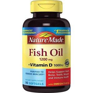Nature Made深海鱼油 1200mg + 维生素D 90粒 3瓶