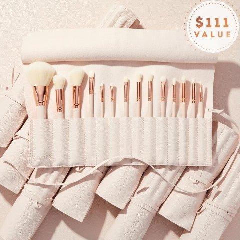 售价$44(价值$111)Colourpop 高颜值14件化妆刷套装热卖 送便携刷套