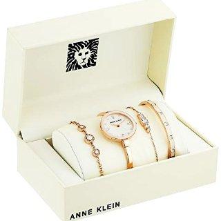 $57.99 (原价$195)史低价:Anne Klein 珍珠母贝施华洛世奇腕表4件套 超美粉金