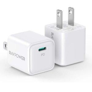 $12.59 轻巧便携 12系列刚需RAVPower 20W USB-C 快充充电器 2件装