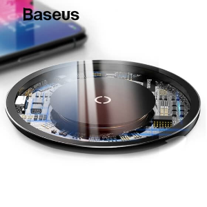$11.99 三色可选 时尚小巧Baseus 10W 钢化玻璃无线充电器 支持苹果和安卓快充