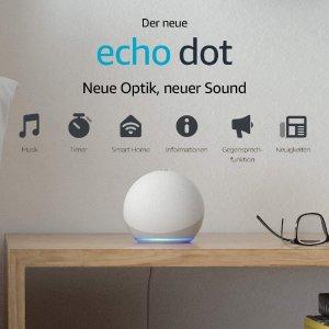 折后仅€24.99 搭载Alexa助手Prime Day 狂欢价:Echo Dot 第4代智能音箱 全新球状设计 音质超好