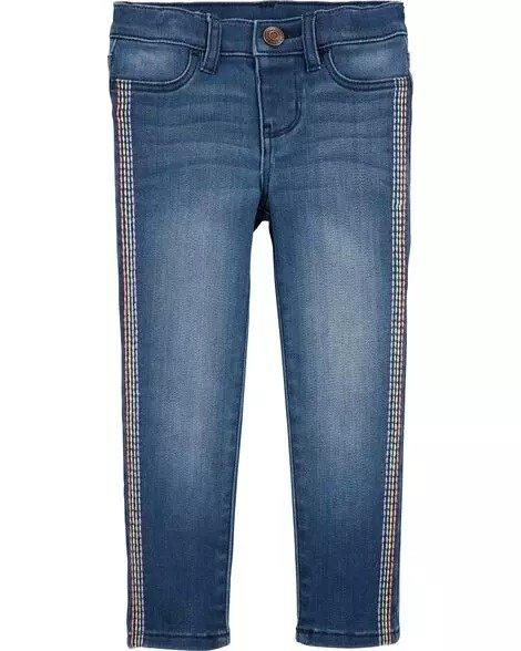 彩虹条纹牛仔裤