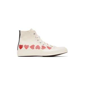 x converse合作款爱心高帮帆布鞋