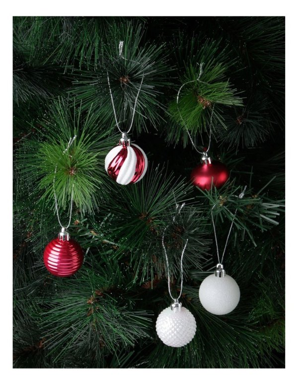 Product: Merry & Bright Assorted White & Red Shatter-Resistant Baubles 30pkMerry & Bright Assorted White & Red Shatter-Resistant Baubles 30pk