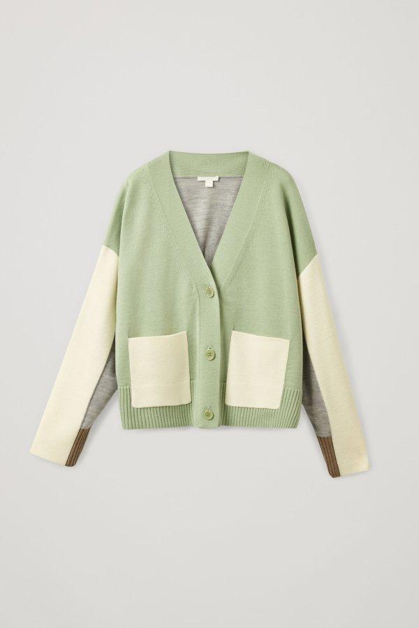 爆款抹茶奶绿羊毛开衫