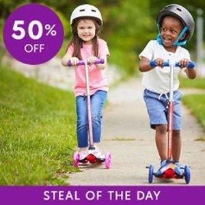 低至$22.99即将截止:Rugged Racers 儿童滑板车特卖 LED闪光款也参加