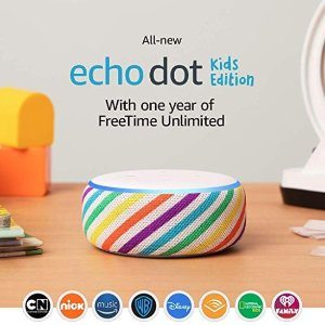 All-New Echo Dot Kids Edition, an Echo designed for kids, Rainbow @ Amazon