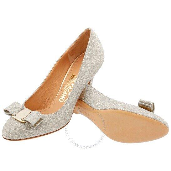 Carla银白色蝴蝶结高跟鞋