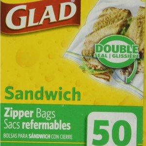 $1.99 (50个) 凑单好物白菜价:Glad Zipper 三明治便携式保鲜袋  日用必备囤货