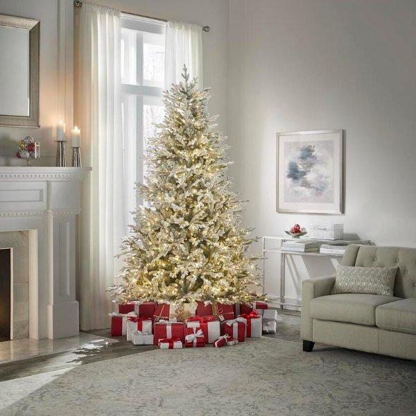 7.5 ft 预装灯串白色圣诞树